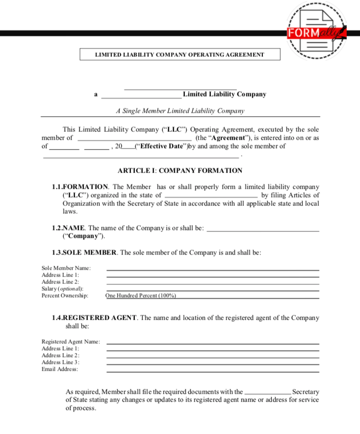 Llc Operating Agreement Single Member